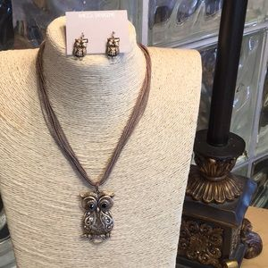 Multi Strand Antique Owl Necklace and Earring Set.